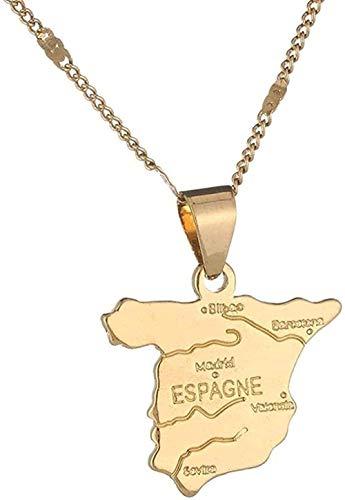 huangxuanchen co.,ltd Collar Color Dorado Mapa de España Colgante Collar Mapa español Charm Collar Joyería