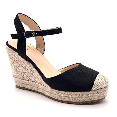 Angkorly - dames schoenen sandalen espadrilles - Bohemen - casual - romantisch - riem - met stro - gevlochten wig hak 9,5 cm