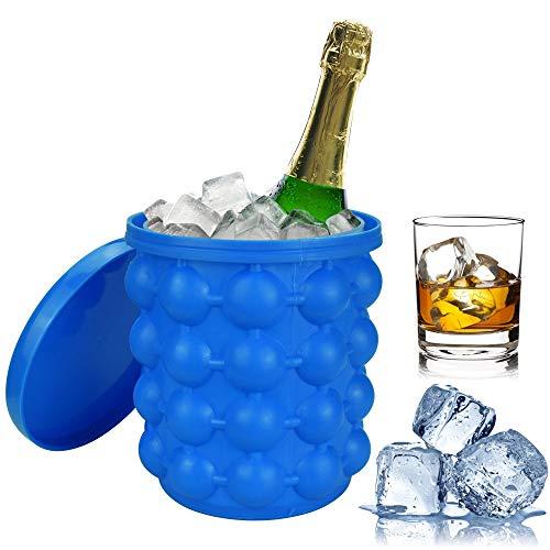 PERFETSELL Eiseimer Silikon Eiswürfelbehälter Eisbehälter Blau Eiskübel Eiskühler 2-in-1 Multifunktional Ice Cube Maker Wiederverwendbar IEiswürfelform Eiswürfelschalen für Ice Bier Whisky