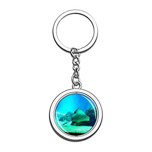 Portugal Aquarium Lissabon Schlüsselanhänger Souvenir Spin Kristall Metall Edelstahl Kette Stadt Reise Geschenk