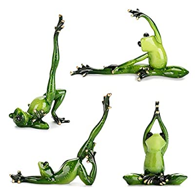 JuxYes Set of 4 Creative Resin Yoga Frogs Figurine Decor, 4 Different Yoga Pose Frog Sculpture Statue, Personalized Animal Collectible Figurines Mascot Frog Resin Crafts for Shelves Table Desk Decor