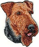 VirVenture 1 3/4' x 2 1/4' Airedale Terrier Dog Breed Portrait Embroidery Patch Great for Hats, Backpacks, and Jackets.