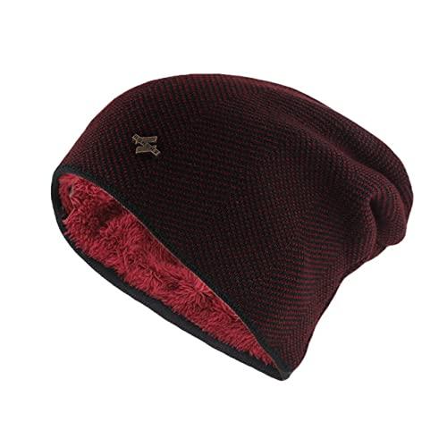Uniqueheart Sombreros de Punto elásticos para Hombres y Mujeres, más Orejeras de Terciopelo a Prueba de Viento, Gorros de Lana cálidos, pulóveres neutros, Rojo Vino