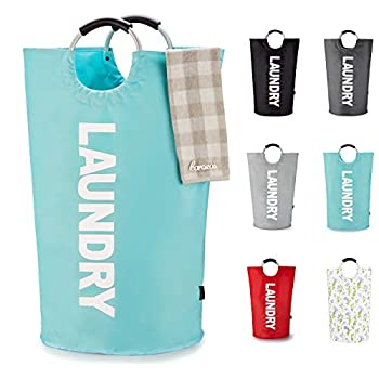 Caroeas 90L X-Large Laundry Basket  7 Colors  Waterproof Laundry Hamper Laundry Bag with Padded Handles Clothes Hamper Stands Up Well Collapsible Laundry Basket Easy Storage Light Blue