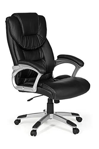 KS-Furniture Bürostuhl Madrid Kunstleder Schwarz ergonomisch mit Kopfstütze   Design Chefsessel Schreibtischstuhl mit Wippfunktion   Drehstuhl hohe Rücken-Lehne X-XL 120 kg