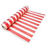 Red and White Striped Plastic Table Cover Roll for Circus Themed Party and Carnival Party Decoration - 10' x 100' Banquet Table Roll