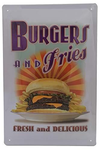 Burger & Fries, Vintage Deko Diner Foodtruck, Barschild, geprägtes Blechschild 30 x 20 cm, Wanddekoration, Küchenschild