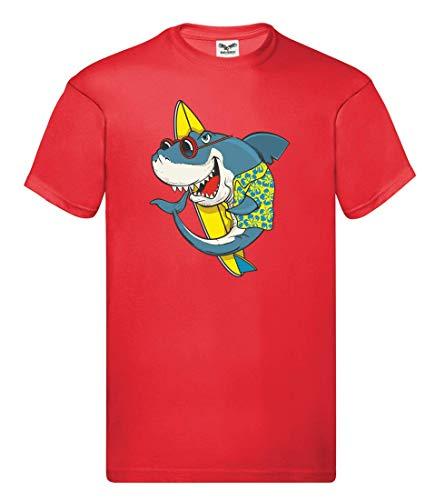 Camiseta – Tabla de surf tiburón gafas de sol hawaiana – Camiseta unisex para niños – niños y niñas rojo 152 cm