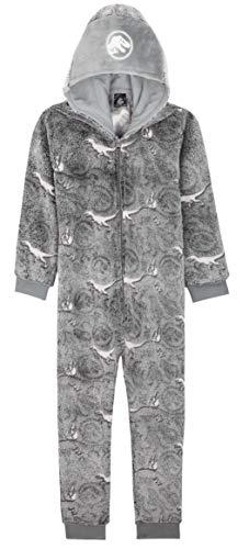 Jurassic World Pijama Niño de Una Pieza, Pijama Dinosaurio Que Brilla en La Oscuridad, Pijamas Niños Enteros Forro Polar, Regalos para Niños y Adolescentes (Gris, 13-14 Años)
