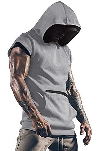 Yidarton Camiseta sin mangas para hombre, para entrenamiento, deporte, fitness, musculación, para gimnasio, culturismo gris XXL
