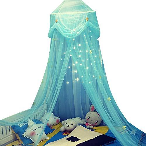 geshiglobal Baldachim do łóżka dla dziewcząt, okrągły kopuła gwiazda motyl tiul baldachim zasłona wisząca moskitiera namiot pościel wystrój pokoju błękitny