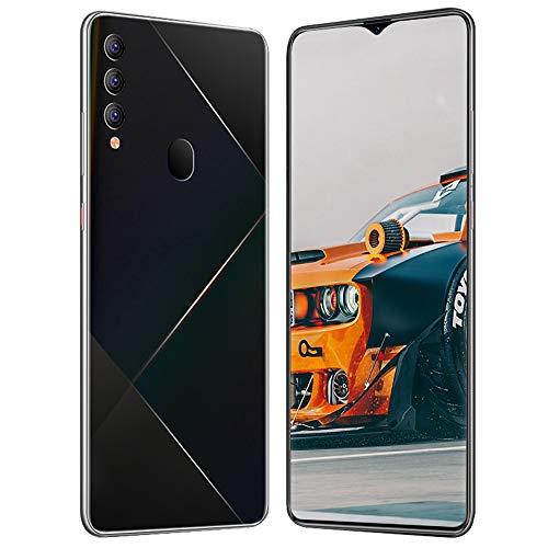 Smartphones desbloqueado M90 + (8GB + 512GB) 6.7 'FHD + teléfono móvil de pantalla completa, con teléfono celular con cámara triple de 13MP / 24MP AI,4800mAh, reconocimiento facial, Android 10,Negro
