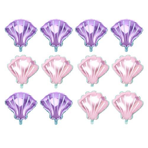 LUOEM 12 Piezas Globos de Conchas Marinas Globos de Fiesta de Aluminio para Decoraciones de Fiesta de Cumpleaños de Boda Accesorios de Fotos