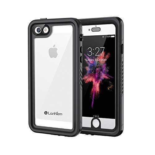 Lanhiem für iPhone SE Hülle, iPhone 5S Hülle, IP68 Wasserdicht Handy Hülle 360 Grad Schutzhülle, Stoßfest Staubdicht & Schneefest Outdoor Hülle mit Eingebautem Bildschirmschutz - Schwarz