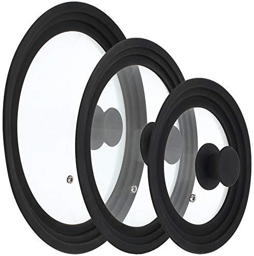 com-four® 3 Paraspruzzi universale Coperchio in vetro con bordo in silicone per pentole e padelle con Ø 16-30 cm (03 pezzi - Ø21cm / Ø27cm / Ø30.5cm)