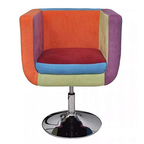 Sillón de relax acolchado con reposabrazos y silla de relaxación de altura ajustable, sillón Patchwork para salón, oficina, cafetería, comedor, 63 x 57 x 66-76 cm