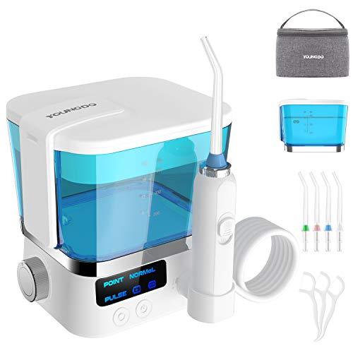 Irrigador Bucal Plegable YOUNGDO, Irrigador Dental Inalámbrico de 600 ML, USB Recargable Impermeable IPX7 10 Niveles de Presión de Agua 4 Boquillas de Repuesto para Cuidado de Higiene Dental