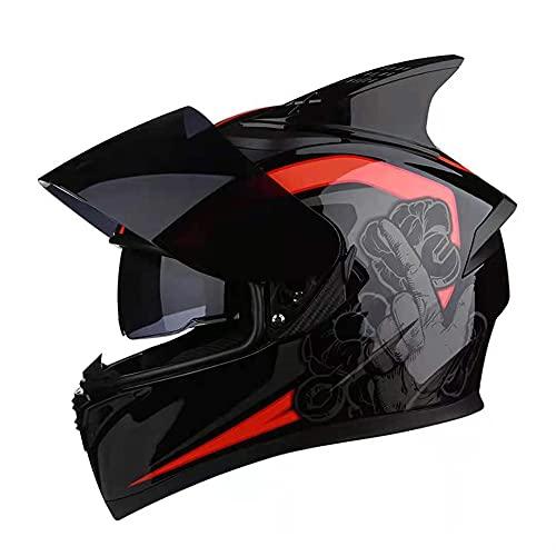 ZWH-box Casco de Motocross para Adultos Todoterreno de Carreras Profesionales Casco de Motocicleta para niños de Dibujos Animados Todoterreno con Gafas Guantes Protector Facial