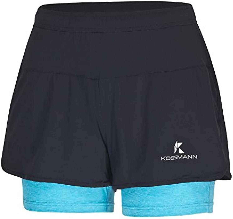 KOSSMANN 2in1 Short Damen Laufhose Aqua Gr. XS