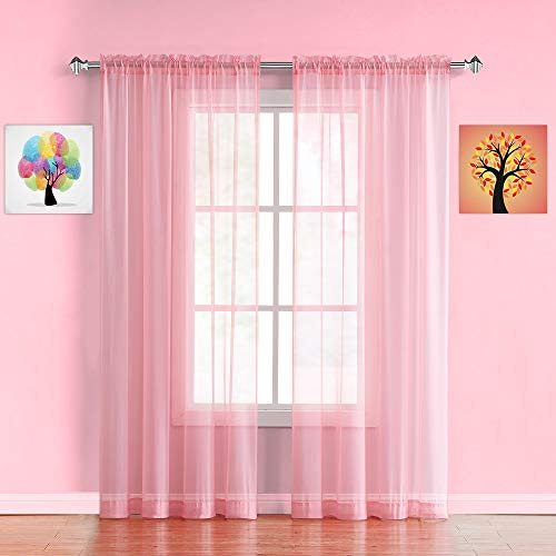 """WARM HOME DESIGNS Pair of Long Length Rose Pink Sheer Window Curtains. Each Voile Drape is 56 X 96 Inches in Size. Great for Kitchen, Living or Kids Room. 2 Fabric Panels Included. AM Rose 96"""""""