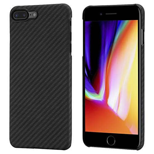pitaka Magnetische Hülle Kompatibel mit iPhone 8 Plus/iPhone 7 Plus,MagEZ Case Aramidfaser[Kugelsicheres Material] Handyhülle, Ultra dünn Super Leicht Stabilst Passgenau - Schwarz/Grau(Köperbindung)