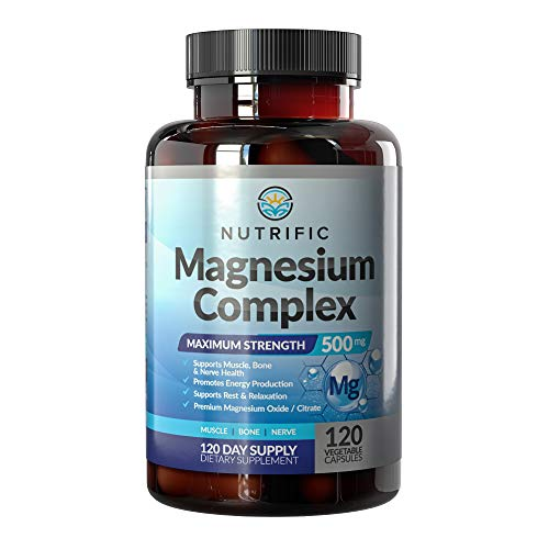 NUTRIFIC Magnesium 500mg - Chelated Magnesium Citrate & Oxide Complex for Healthy Bones, Muscle, Nerves, Energy & Relaxation - Potent, High Absorption 500mg - Gluten Free - 120 Vegan Capsules