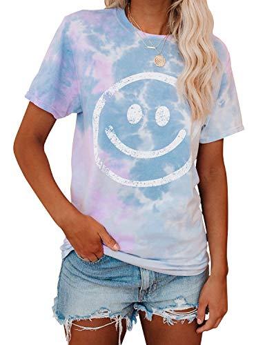 YOINS Damen T-Shirt Kurzarm Top Casual Rundhals Sommer Oberteile Cold Shoulder Ausgeschnitten Pulli Blusen Tee Glückliches Gesicht L