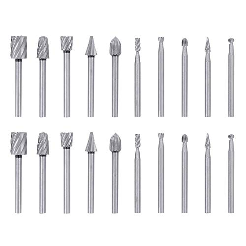 Bestgle 1/8 Inch(3mm) Shank HSS Router Bits Burr 2 Set Rotary Tools Replacement Wood Milling Burrs for Dremel Rotary Engraving Woodworking Tool, Total 20pcs