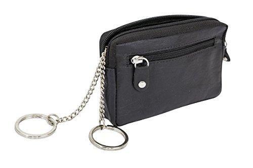 Schlüsseltasche extra flach mit RFID Schutz, kein Daten Auslesen BZW. kopieren von Funk Autoschlüssel möglich - Schlüsselfunktion bleibt erhalten LEAS in Echt-Leder, schwarz