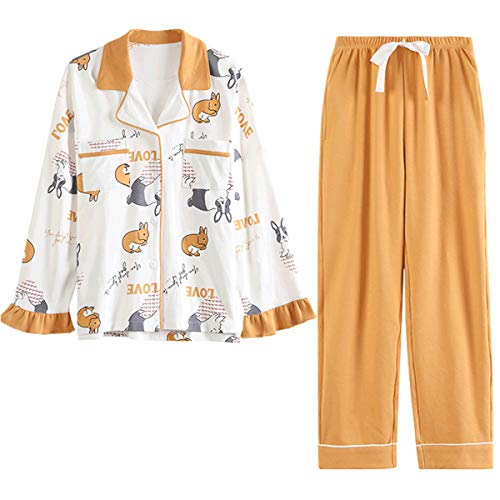 GOSO Schlafanzug Mädchen 140 146 152 164 Pyjamas Button Down Pjs für Teen Tween Girls Cartoon Tops und Long Pants Loungewear, Gelb, XL=152
