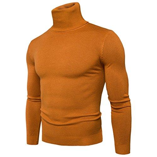 CELANDA Herren Strickpullover Stehkragen Turtleneck Sweater Slim Fit Rollkragen Pullover Warme Strickpullover Gelb Größe:M/Lieferantengröße:L