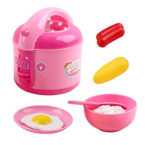 Vokodo Kids Rice Cooker Compact Size Kitchen Playset with Food Pieces Pretend Play Chef Appliances Early Learning Preschool Cooking Toy Battery Operated Great Gift for Children Boys Girls Toddlers