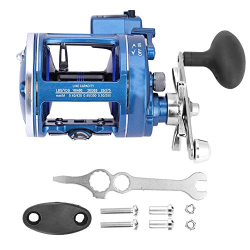 Owlike 12BB Offshore Angling Aluminum Alloy Drum Wheel Fishing Reel Line Counter (Right-Handed Blue)