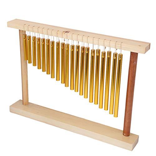 Mesa de campanas de viento de 20 tonos Instrumento de percusión de una sola fila Juguete musical para niños + martillo, 13.8x11x2in