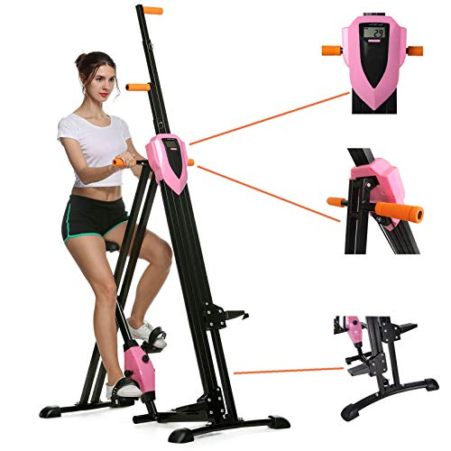 heka Vertical Climber Machine, Folding Climbing Machine for Home Gym Exercise, Fitness Stepper with Adjustable Height&LCD Display(Max Load 350lbs) (Pink) (Pink)