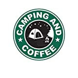 ION Graphics Camping and Coffee Sticker Decal Vinyl Camp Camper Hike Hiker 5' Bumper Locker Laptop Window - Sticks to Any Surface