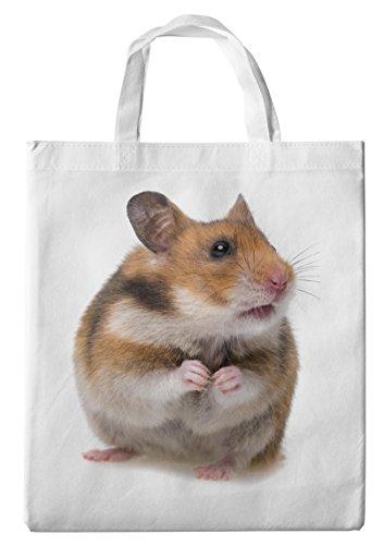 Merchandise for Fans Einkaufstasche- 38x42cm, 8 Liter - Motiv: Hamster Zwerghamster Goldhamster Feldhamster hat Sich aufgerichtet [ 02 ]