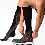 Knee High Compression Socks for Women & Men, 15-20 mmHg - Edema Pain Relief - Nurse, Travel, Pregnancy & Running Comfort - Lightweight Graduated Nursing Sock - Knee High Stockings, Black/Gray XL