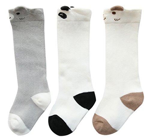 FEOYA 3 Paires Chaussettes Hautes en Coton Bébé Enfant Unisexe Chaussettes de Tube Motif Dessin Mignon Imprimé, Style Panda, 1-3 Ans
