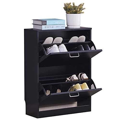 Mantimes Zapatero de madera de 2 niveles, portátil, color negro, estante de almacenamiento para 12 pares de zapatos, estantes para zapatos