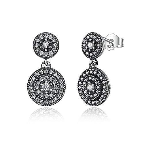 Pendientes de plata de ley 925 radiante elegancia con cristales de circonita cúbica rodeados de plata antigua para mujer