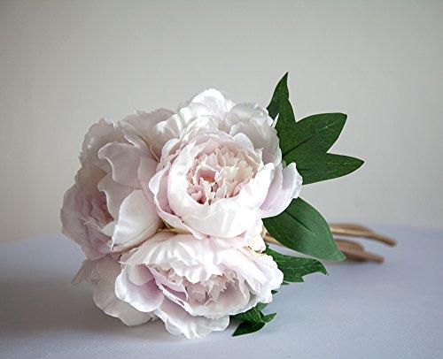 Bouquet de pivoines - 6 têtes, 3 couleurs, en soie - Décoration de mariage, Lilas/blanc, 20 cm