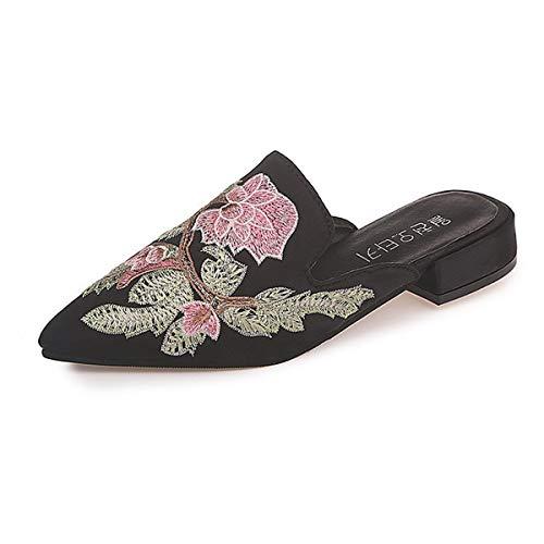 SHENAISHIREN Chanclas para mujer, sandalias de bordado puntiagudo, sexy, transpirables, sandalias para mujer, zapatos planos para interiores y exteriores (color: A, talla: 35)