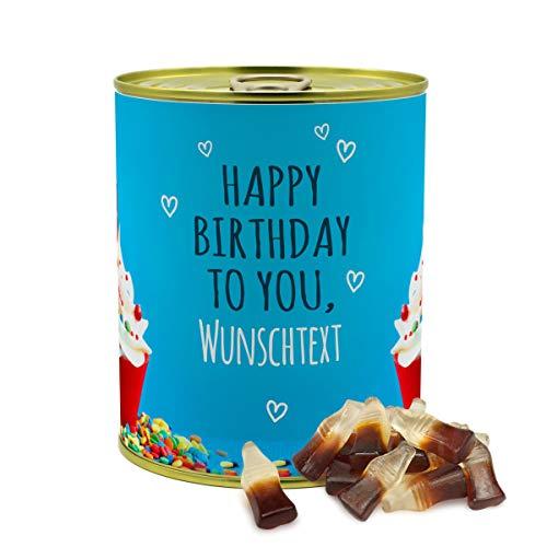 printplanet® - Konservendose mit Name oder Text selbst gestalten - Süßigkeiten-Dose - Layout Geburtstags-Cupcake - Füllung Haribo Happy-Cola