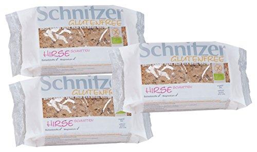 Schnitzer Hirse Schnitten -Glutenfrei- 250g Bio Brot, 3er Pack (3 x 250 g)