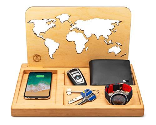 Qi draadloze oplader organizer van hout of cadeau voor mannen, docking station met Qi inductieve oplader voor iPhone 8, X, XR, Android