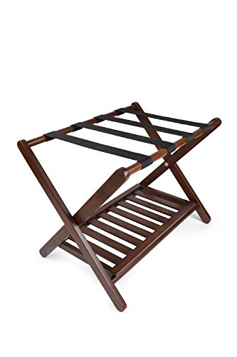 Penguin Home Classic Luggage Rack - Crafted in Solid Hardwood - Foldable Wood Design - Easy Assembly - for Home, Bedroom & Travel - W67 x D47 x H50 cm - Expresso