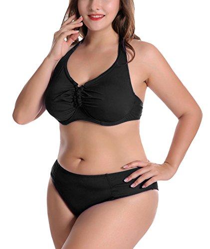 FEOYA - Bikini de Mujer Push Up con Relleno para Verano Bañador con Aros Sexy Traje de Baño de 2 Piezas Biquini Talla Grande - Negro - ES 52