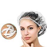 Vtrem 100pcs Bonnet De Douche Jetable en Plastique Épaisseur Imperméable Bonnet De Bain Protection Charlotte Cheveux Femme/Homme Pour Salon/SPA/Ménage/Cuisine/Démaquillage etc