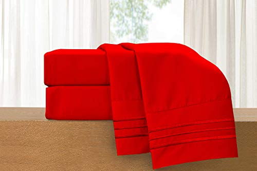 Elegant Comfort 822RRW-Full-Red 4-Piece Sheet Set-Luxury Bedding 1500 Thread Count Egyptian Quality Wrinkle and Fade Resistant Hypoallergenic Cool & Breathable, Easy Elastic Fitted Full Red